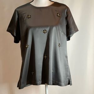 Saks Fifth Avenue Black Label Gray Blouse XL